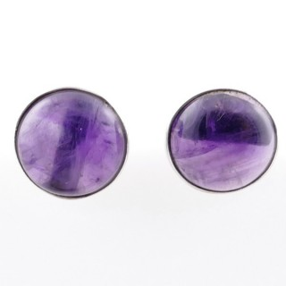 58027-06 STERLING SILVER 11 MM POST EARRINGS WITH AMETHYST