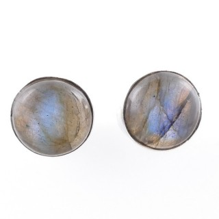 58027-08 STERLING SILVER 11 MM POST EARRINGS WITH LABRADORITE