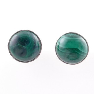 58027-10 STERLING SILVER 11 MM POST EARRINGS WITH MALACHITE