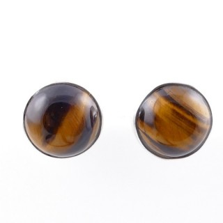 58027-11 STERLING SILVER 11 MM POST EARRINGS WITH TIGER'S EYE