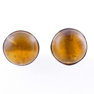 58027-12 STERLING SILVER 11 MM POST EARRINGS WITH AMBER