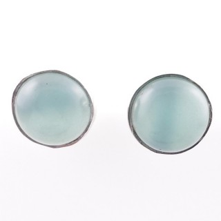 58027-13 STERLING SILVER 11 MM POST EARRINGS WITH CALCEDONIA
