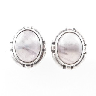 58028-01 STERLING SILVER 14 X 12 MM POST EARRINGS WITH ROSE QUARTZ