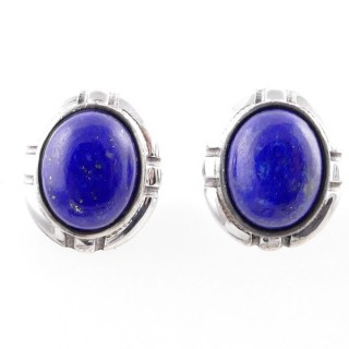 58028-02 STERLING SILVER 14 X 12 MM POST EARRINGS WITH LAPIS LAZULI