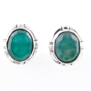 58028-03 STERLING SILVER 14 X 12 MM POST EARRINGS WITH EMERALD