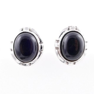 58028-04 STERLING SILVER 14 X 12 MM POST EARRINGS WITH ONYX
