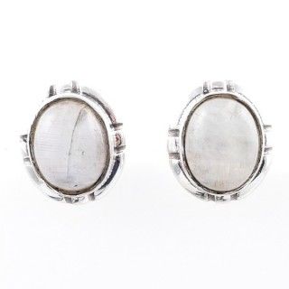 58028-05 STERLING SILVER 14 X 12 MM POST EARRINGS WITH MOONSTONE