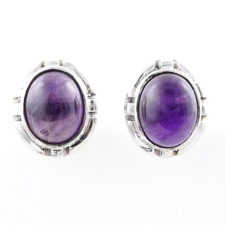 58028-06 STERLING SILVER 14 X 12 MM POST EARRINGS WITH AMETHYST