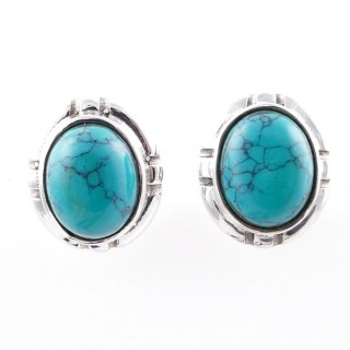 58028-07 STERLING SILVER 14 X 12 MM POST EARRINGS WITH TURQUOISE