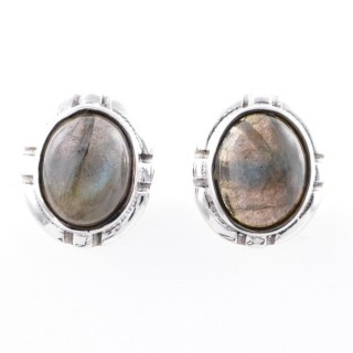 58028-08 STERLING SILVER 14 X 12 MM POST EARRINGS WITH LABRADORITE