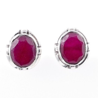 58028-09 STERLING SILVER 14 X 12 MM POST EARRINGS WITH RUBY