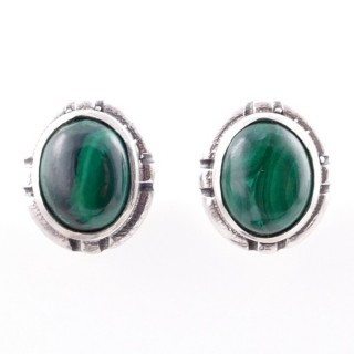 58028-10 STERLING SILVER 14 X 12 MM POST EARRINGS WITH MALACHITE