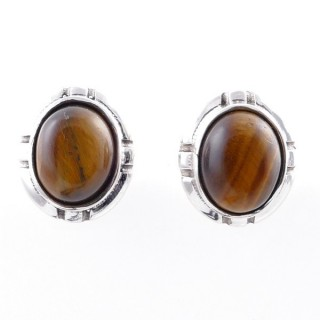 58028-11 STERLING SILVER 14 X 12 MM POST EARRINGS WITH TIGER'S EYE
