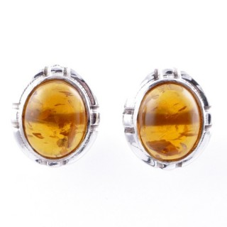 58028-12 STERLING SILVER 14 X 12 MM POST EARRINGS WITH AMBER