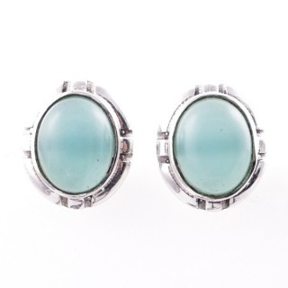 58028-13 STERLING SILVER 14 X 12 MM POST EARRINGS WITH CALCEDONIA
