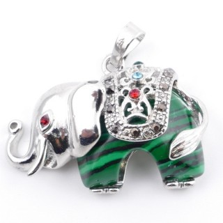 36981-06 METAL 25 X 36 MM ELEPHANT PENDANT WITH SYNTHETIC MALACHITE MINERAL STONE
