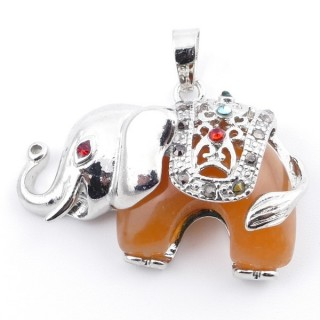 36981-07 METAL 25 X 36 MM ELEPHANT PENDANT WITH CARNELIAN AGATE MINERAL STONE