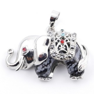 36981-24 METAL 25 X 36 MM ELEPHANT PENDANT WITH SNOWFLAKE OBSIDIAN MINERAL STONE