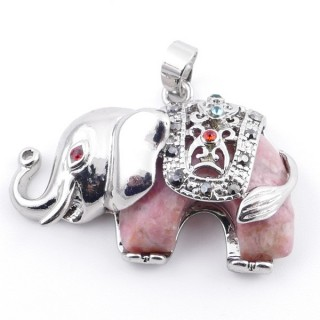 36981-26 METAL 25 X 36 MM ELEPHANT PENDANT WITH RHODONITE MINERAL STONE