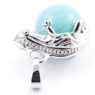 37312-03 IGUANA SHAPED METAL PENDANT WITH 16 MM MINERAL BEAD IN TURQUOISE