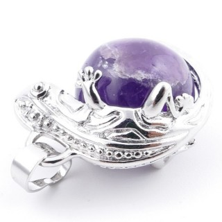 37312-05 IGUANA SHAPED METAL PENDANT WITH 16 MM MINERAL BEAD IN AMETHYST