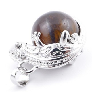 37312-09 IGUANA SHAPED METAL PENDANT WITH 16 MM MINERAL BEAD IN TIGER'S EYE