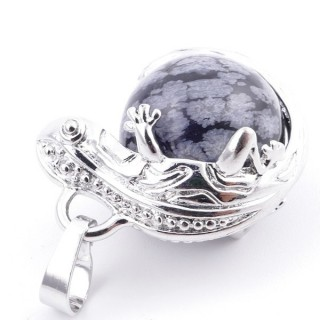 37312-24 IGUANA SHAPED METAL PENDANT WITH 16 MM MINERAL BEAD IN SNOWFLAKE OBSIDIAN