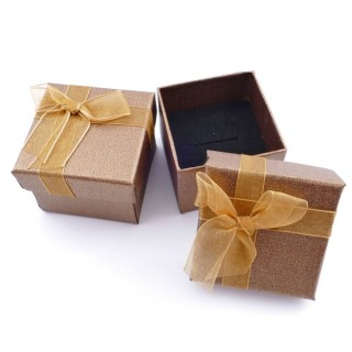 18820-05 PACK OF 24 GIFT BOXES FOR RINGS/EARRINGS 5 X 5 CM IN GOLD