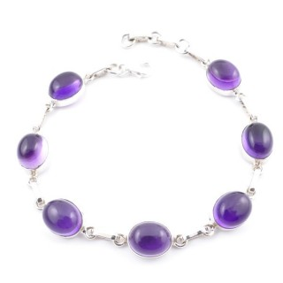 58302-01 STERLING SILVER 19 CM BRACELET WITH AMETHYST STONES