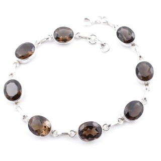 58302-02 STERLING SILVER 19 CM BRACELET WITH FACETED SMOKY QUARTZ STONES