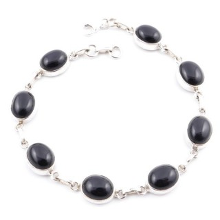 58302-03 STERLING SILVER 19 CM BRACELET WITH ONYX STONES