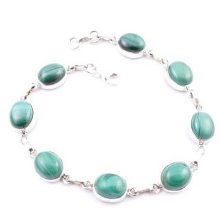 58302-05 STERLING SILVER 19 CM BRACELET WITH MALACHITE STONES