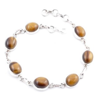 58302-06 STERLING SILVER 19 CM BRACELET WITH TIGER'S EYE STONES