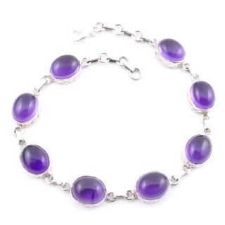58303-02 STERLING SILVER 20 CM BRACELET WITH AMETHYST STONES