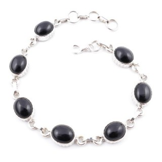 58303-03 STERLING SILVER 20 CM BRACELET WITH ONYX STONES