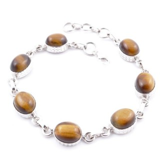 58303-04 STERLING SILVER 20 CM BRACELET WITH TIGER'S EYE STONES
