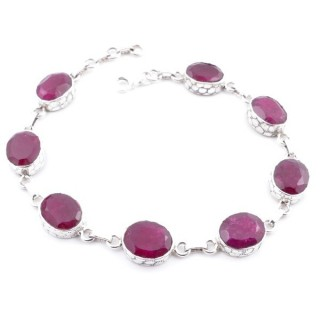 58303-06 STERLING SILVER 20 CM BRACELET WITH RUBY STONES