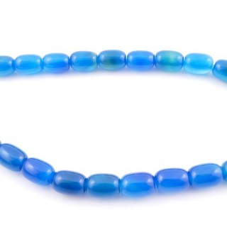 43798-04 40 CM STRING OF 10 X 14 MM NATURAL STONE AGATE BEADS