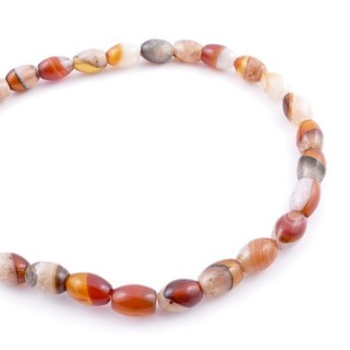 43799-11 40 CM STRING OF 8 X 12 MM NATURAL STONE AGATE BEADS