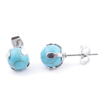 37435-03 STAINLESS STEEL EARRINGS WITH 8 MM TURQUOISE STONE BALL