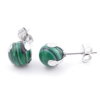 37435-06 STAINLESS STEEL EARRINGS WITH 8 MM SYNTHETIC MALACHITE STONE BALL