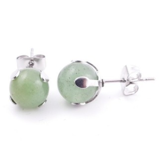 37435-12 STAINLESS STEEL EARRINGS WITH 8 MM GREEN AVENTURINE STONE BALL