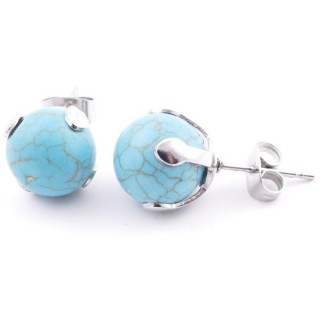 37436-03 STAINLESS STEEL EARRINGS WITH 10 MM TURQUOISE STONE BALL