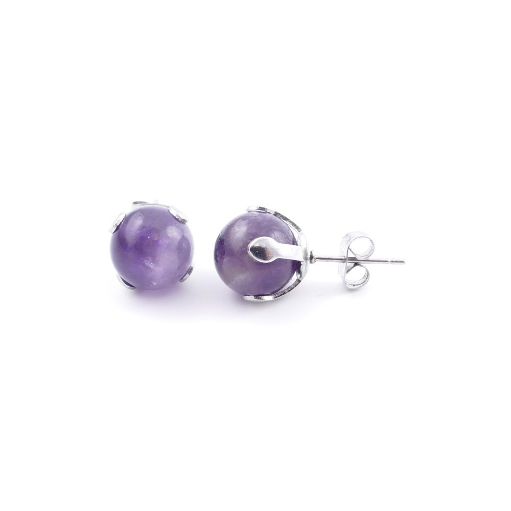 37436-05 STAINLESS STEEL EARRINGS WITH 10 MM AMETHYST STONE BALL