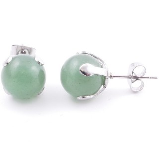 37436-12 STAINLESS STEEL EARRINGS WITH 10 MM GREEN AVENTURINE STONE BALL