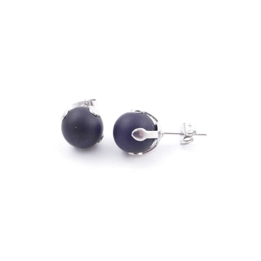 37436-33 STAINLESS STEEL EARRINGS WITH 10 MM RECONSTRUCTED SHUNGITE STONE BALL