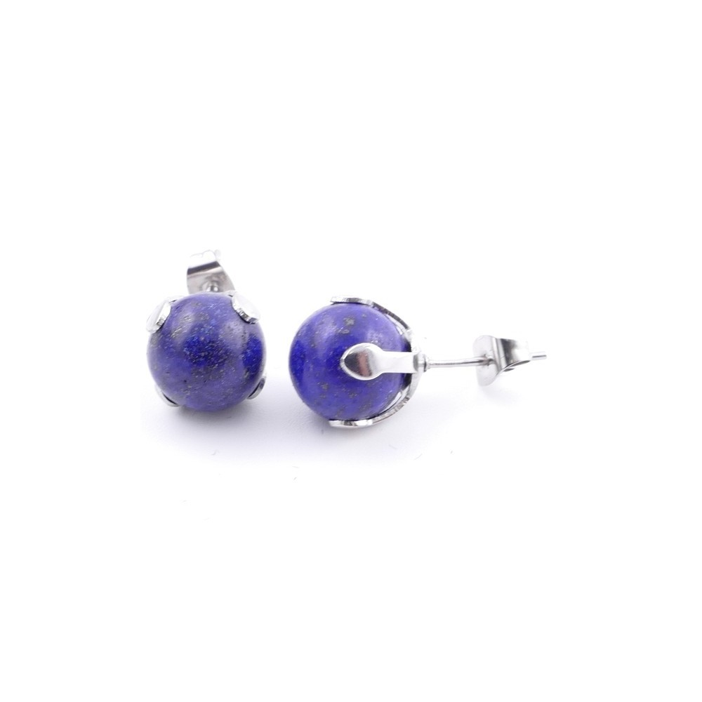 37436-13 STAINLESS STEEL EARRINGS WITH 10 MM LAPIS LAZULI STONE BALL