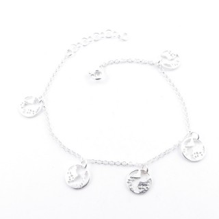 39568 SILVER 925 18 + 3 CM BRACELET WITH WORLD MAP CHARMS