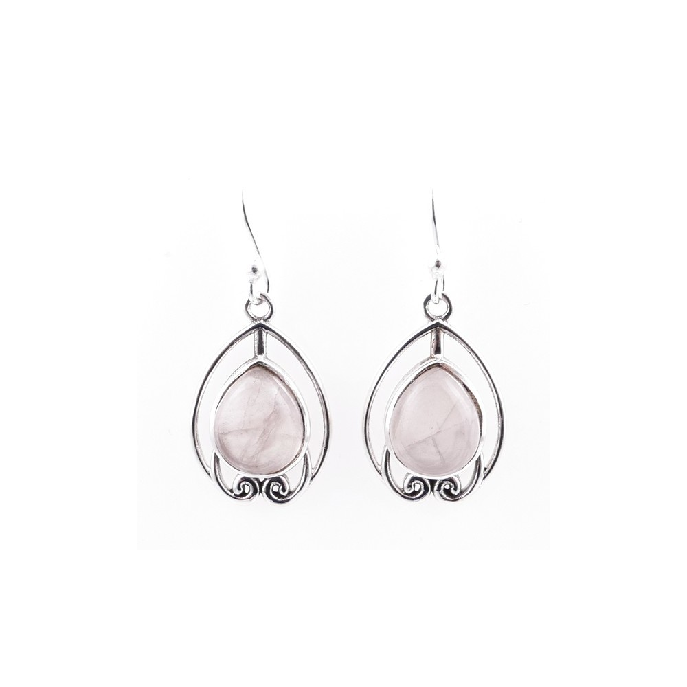 58002-01 STERLING SILVER 22 X 15 MM FISH HOOK EARRINGS WITH ROSE QUARTZ