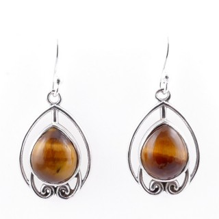 58002-11 STERLING SILVER 22 X 15 MM FISH HOOK EARRINGS WITH TIGER'S EYE